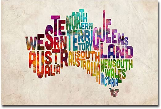 United States Text Map III by Michael Tompsett 22x32-Inch Canvas Wall Art