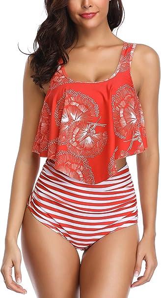 Amazon.com: Eomenie Bikini de cintura alta trajes de baño ...