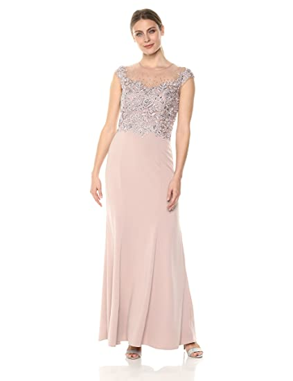 Cachet Womens Beaded Floral Embroidered Bodice Sleevless Gown Prom Dress: Amazon.co.uk: Clothing