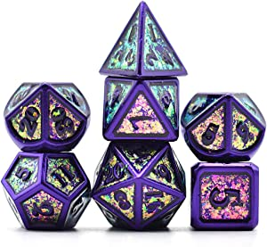 UDIXI Metal Dice Set 7 Die Polyhedral DND Dice Set for Dungeons and Dragons Role Playing Game and Math Teaching with Dice Bag