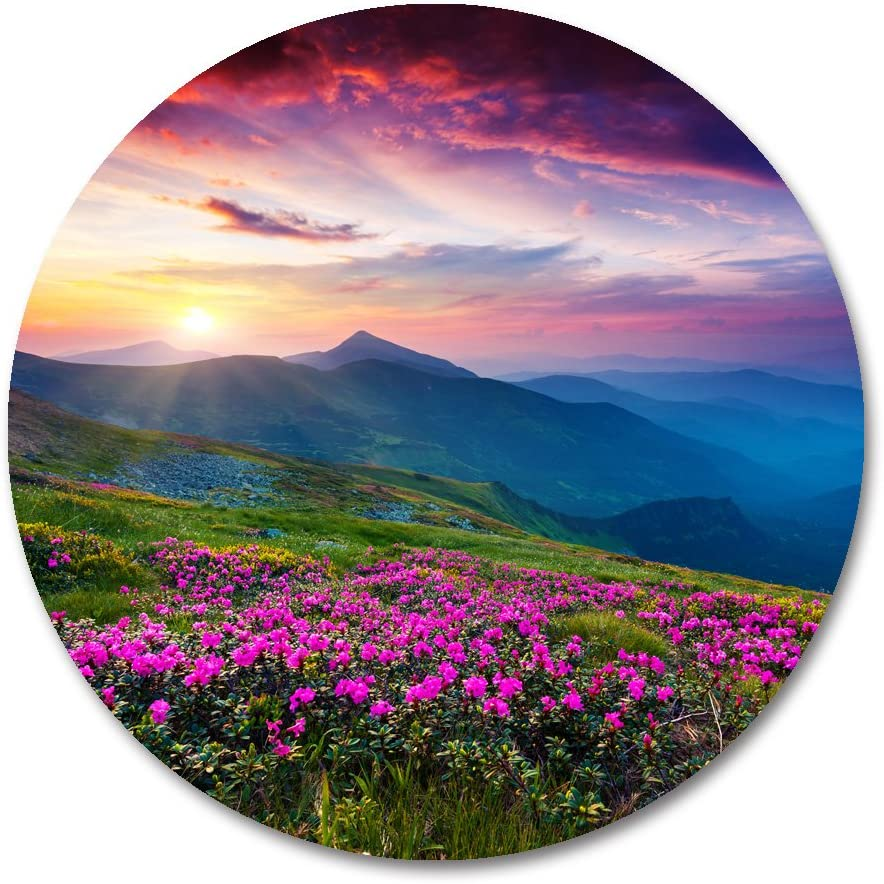Nature Circular Mouse Pad by Smooffly,Nature Purple Flowers Meadow Mountain Customized Round Non-Slip Rubber Mousepad Gaming Mouse Pad mat