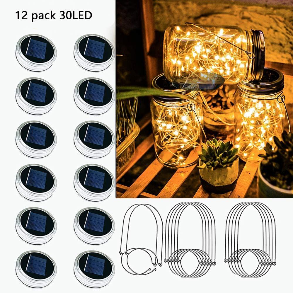 Best for Mason Jars Terrace Garden Decoration Excluding Jars Including 12 Hangers Starry Love Upgraded Solar Mason Jar Lid Light,Multicolor 30LED Light String Fairy Firefly Jar Lid Light 3 Colors