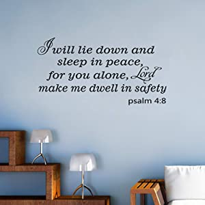 VODOE Wall Decals for Bedroom, Christian Wall Decal, Quotes Scripture Bible Verse Religious Living Room Family Home Art Decor Vinyl Stickers I Will Lie Down and Sleep in Peace for You Alone 21