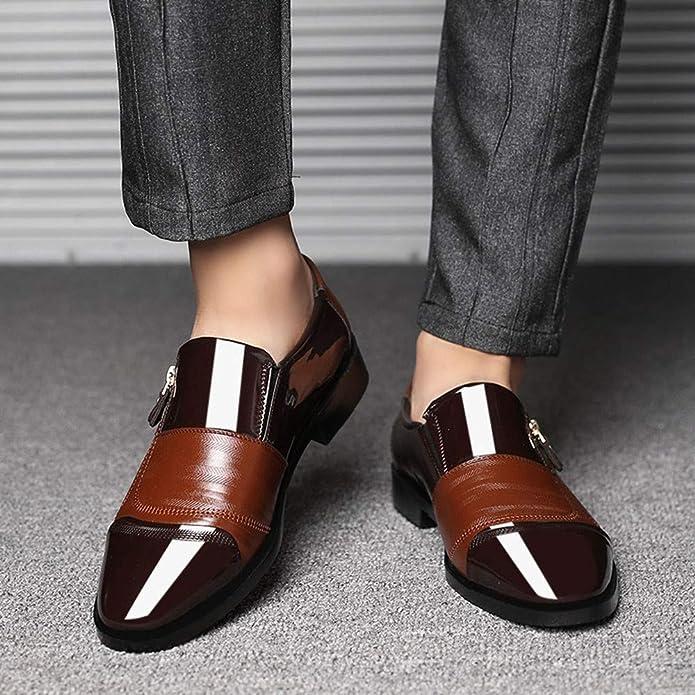Amazon.com | Seaintheson Felt Applique Kits, Mens Business Dress Shoes Pointed Head Flat Shoes A Pedal Casual Lazy Side Zipper Shoe Black | Shoes