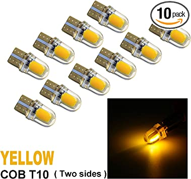 10x T10 194 168 LED Interior Map Dome Side Marker Light 2-sides Chip White Bulbs