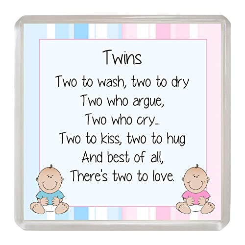 TWINS Coaster Twin BOY And GIRL Drinks Mat Fun Novelty Babies Baby Birthday Christening Gift