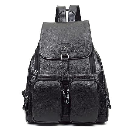 43c76041b6 DRF Women Leather Backpack Purse Ladies Rucksack Handbags Large BG120  (Black)  Amazon.co.uk  Luggage