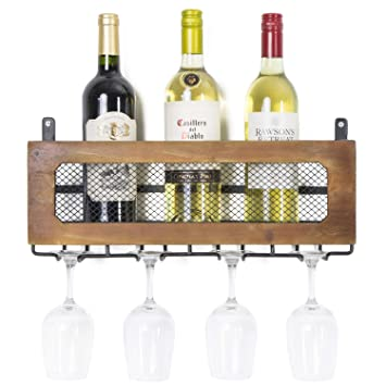 Amazoncom Autree Wall Mounted Metal Wood Wine Rack With Stemware