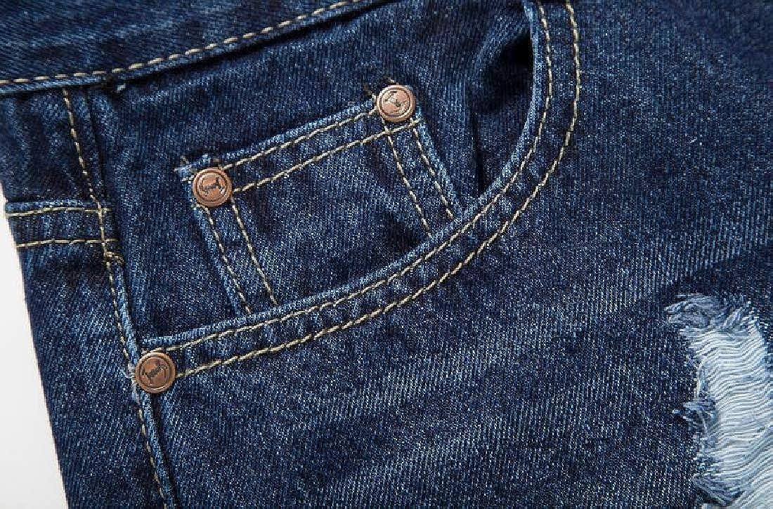 BU2H Men Summer Straight Leg Ripped Distressed Fashion Summer Mid Waisted Denim Shorts Jeans