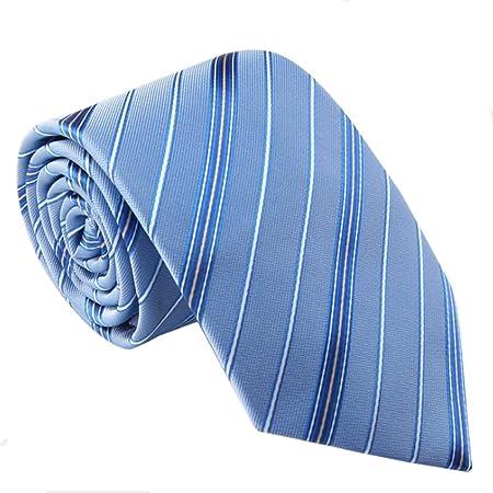 Y-WEIFENG Corbata de Rayas de Color Azul Claro Tejido de poliéster ...