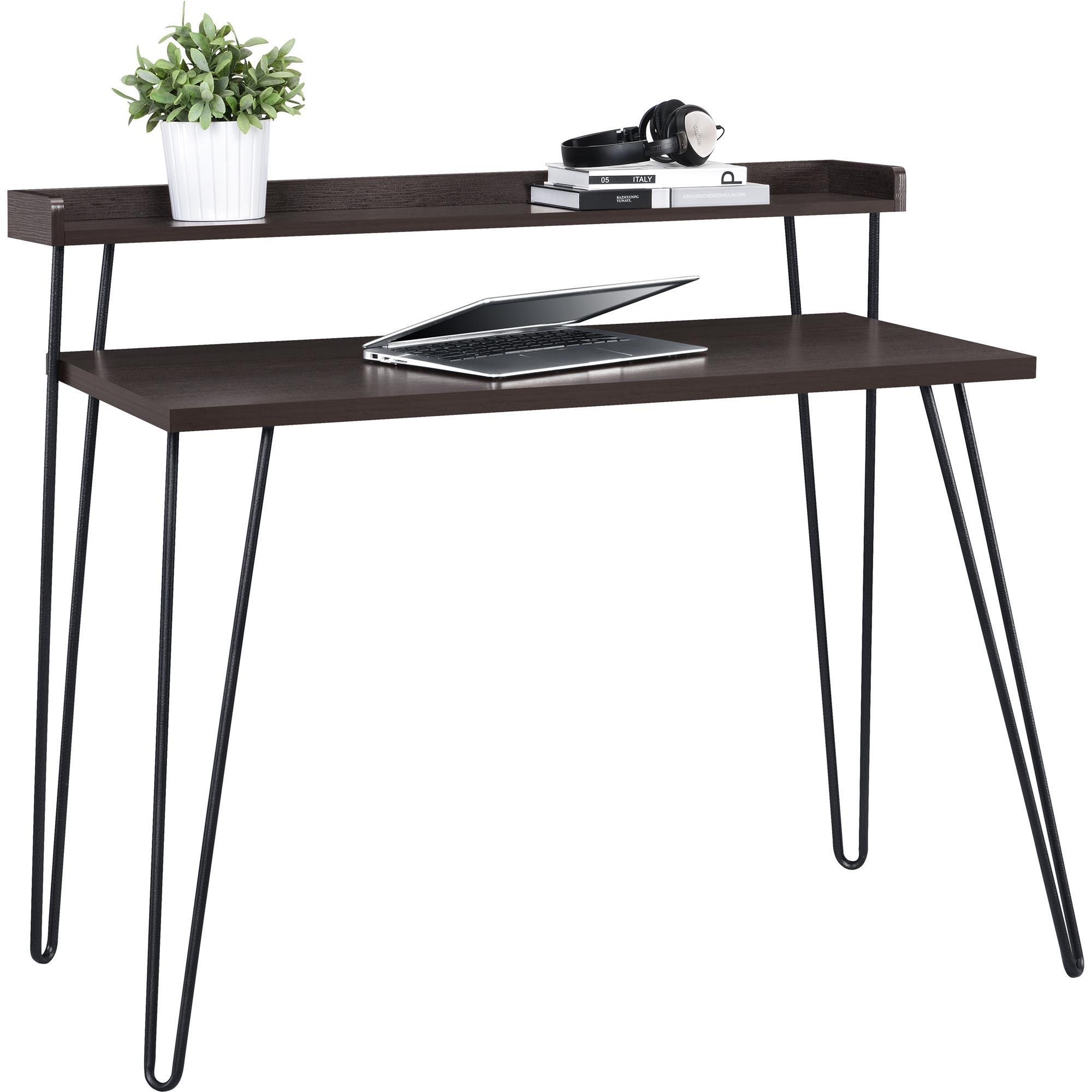 altra furniture haven retro desk with riser espresso gunmetal gray 689719691169 ebay. Black Bedroom Furniture Sets. Home Design Ideas