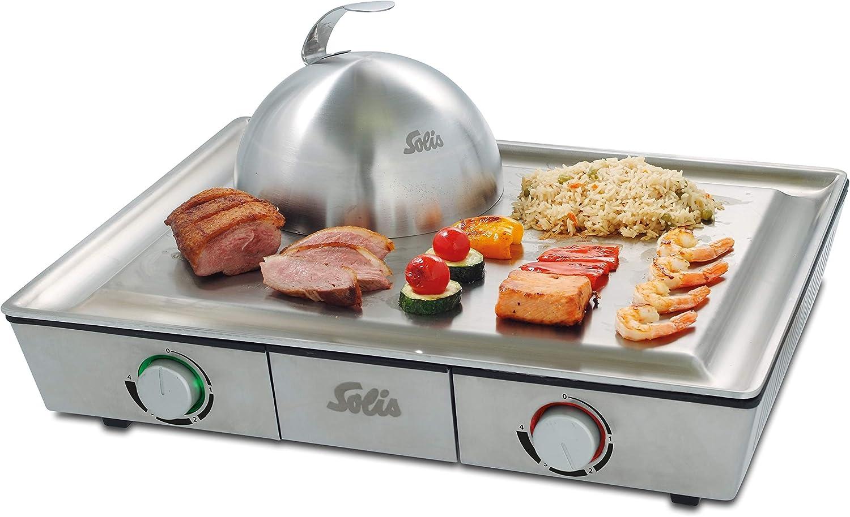 Solis Teppanyaki@Home 795 - Plaque de Teppanyaki et Grill Barbecue - Plancha Électrique - Cuisson Japonais - Acier Inoxydable
