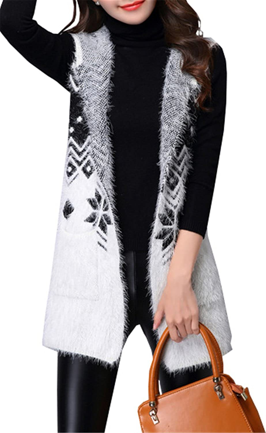 2105d5ae02 Betusline Women Deer Pattern Mohair Hooded Knit Vest Sleeveless Cardigan  Sweater White at Amazon Women s Clothing store