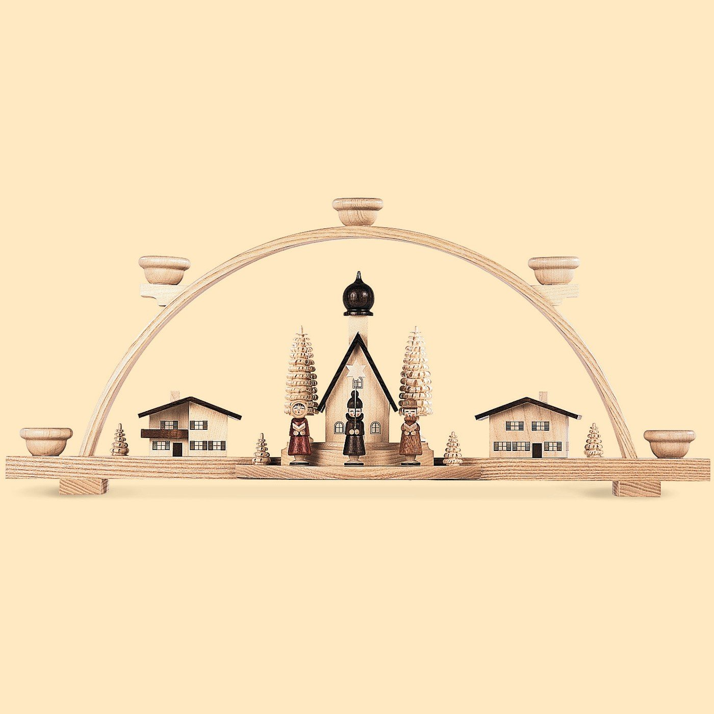 German candle arch Alp vilage with star-singers, small village, length 47 cm / 19 inch, natural, original Erzgebirge by Mueller Seiffen Müller