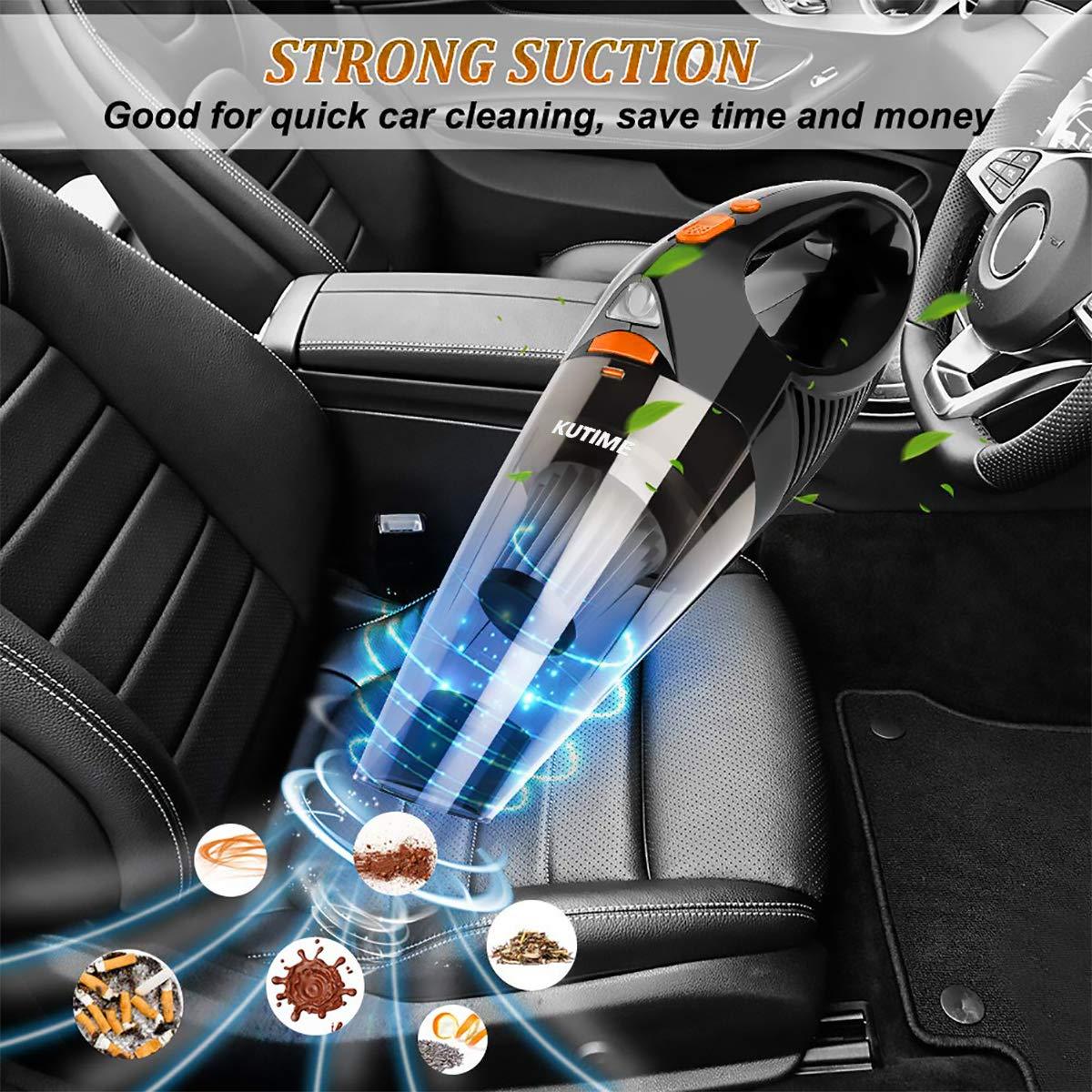 Acciaio Inossidabile HEPA DC 12V Aspirapolvere Portatile per Auto con Cavo di Alimentazione 16.4 Piedi FRUITEAM Aspirapolvere per Auto ad Alta Potenza Aspirapolvere Bagnato con Luce a LED