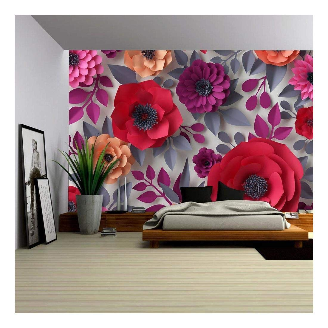 wall26 - Red Pink Flowers Bridal Bouquet - 3D Canvas Art Wall Decor - 100''x144''