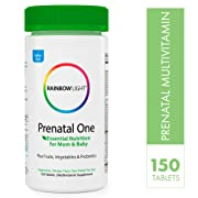 Rainbow Light Prenatal One Multivitamin - Plus Superfoods & Probiotics - Essential Nutrition for Mom and Baby, Daily Vitamin and Mineral Supplement, Folate, Iron, Gluten-Free, Vegetarian - 150 Tablets