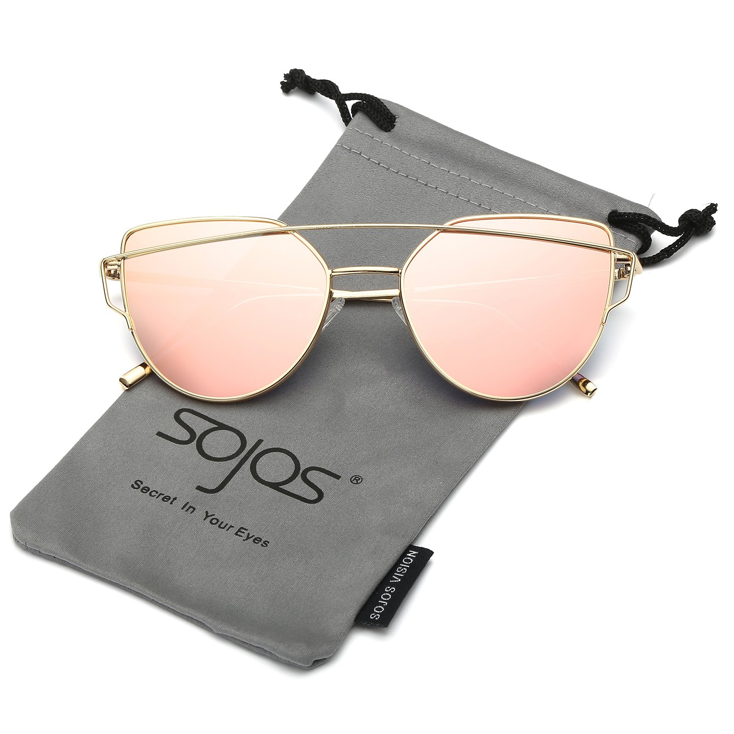 a4ea51044f2 SojoS Cat Eye Mirrored Flat Lenses Street Fashion Metal Frame Women  Sunglasses SJ1001 With Gold Frame Pink Mirrored Lens  Amazon.in  Clothing    Accessories