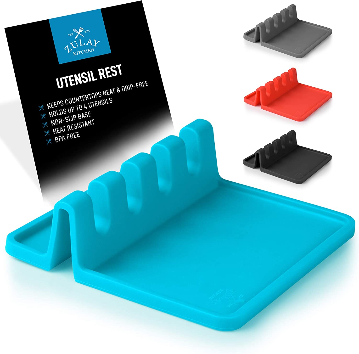 Silicone Utensil Rest with Drip Pad for Multiple Utensils, Heat-Resistant, BPA-Free Spoon Rest & Spoon Holder for Stove Top, Kitchen Utensil Holder for Spoons, Ladles, Tongs & More - by Zulay (Blue)