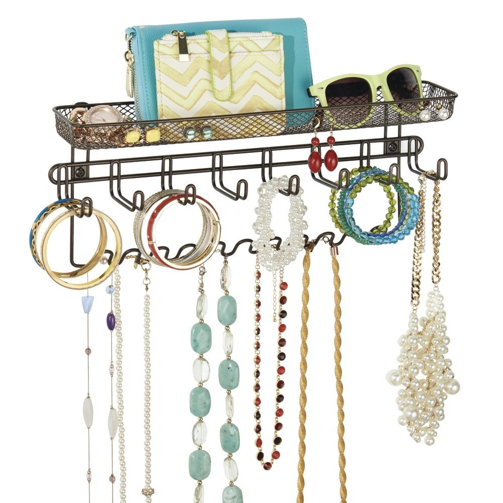Amazon.com: mDesign Closet Wall Mount Jewelry Accessory Organizer ...