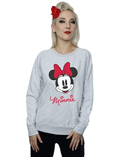 Amazoncom Disney Womens Minnie Mouse Face Sweatshirt Clothing
