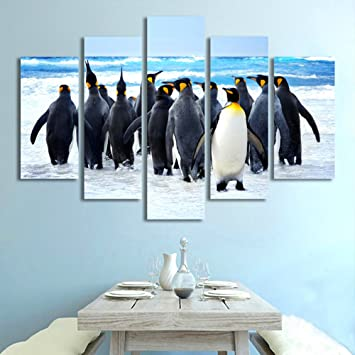 Amazon.com: Modern 5 Piece Penguin Canvas Prints Painting Modern ...