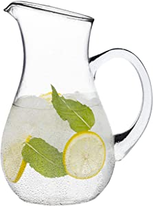 Gift Essentials Glass Pitcher with Spout – 50 oz Clear Glass Belly Pitchers – Elegant Serving Carafe for Water, Juice, Sangria and Cocktails – Crystal-Clear Glass Pitcher – Dishwasher Safe