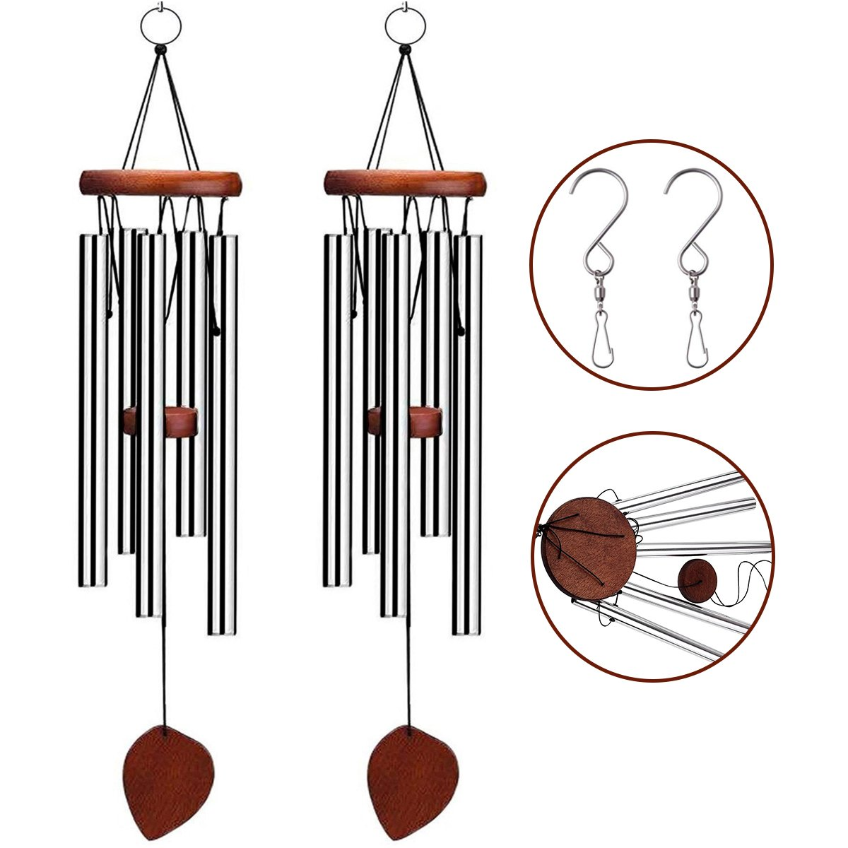 Wind Chimes Outdoor VenKoda 2 Pack Sympathy Wind Chimes Musical Amazing Grace Birthday Gifts for Friend and Family Memorial Porch Patio Home and Garden Decor Metal Large - 24 Inch