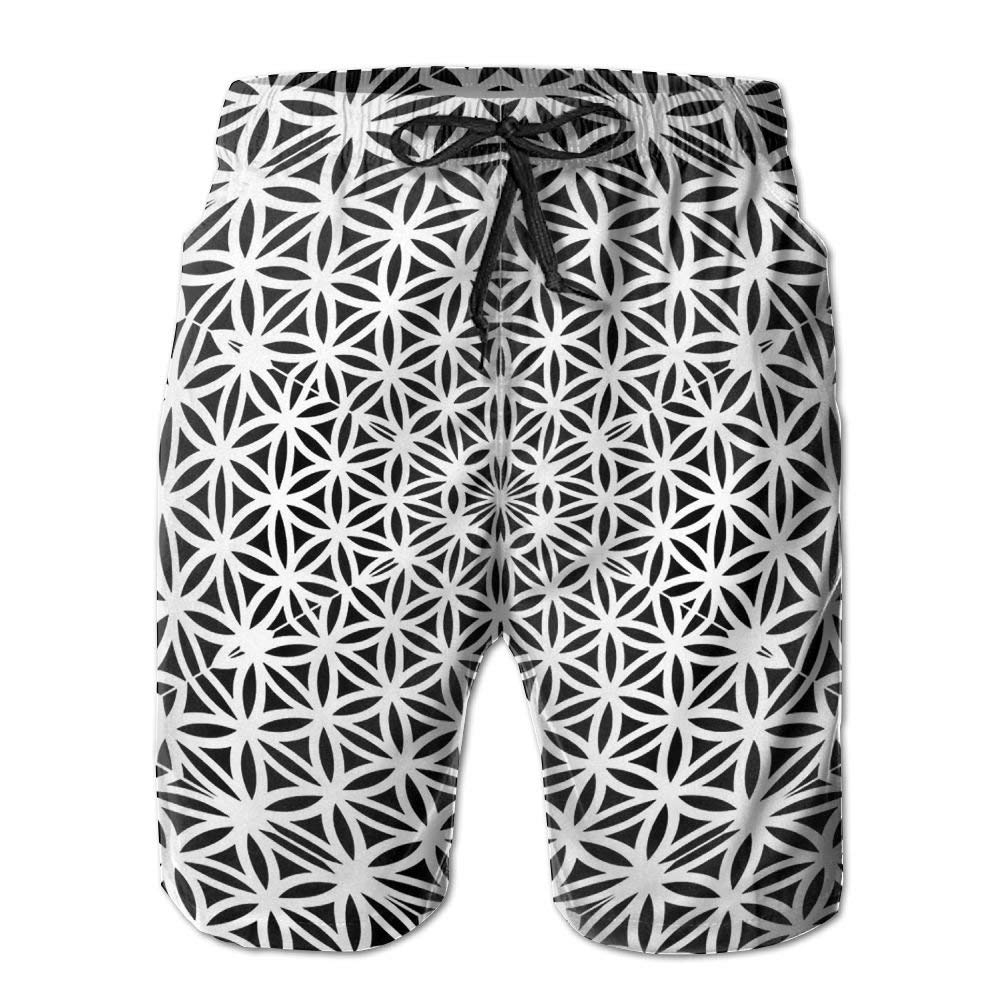 White Black Psychedelic Kaleidoscope Mens Beach Shorts Classic Swim Trunks Surf Board Pants with Pockets for Men