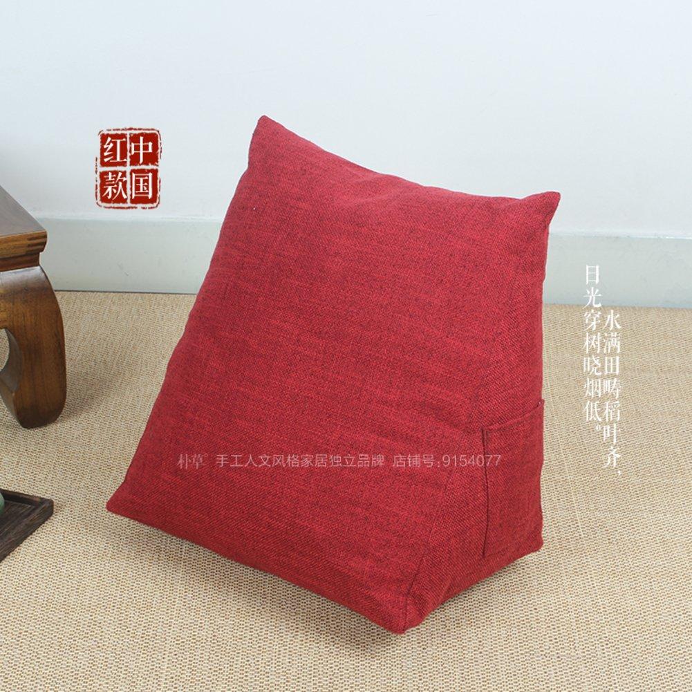 Q&Q Triangle pillow,Bedside lumbar cushion,Lumbar pillow,Tatami washable office bay window back cushion -C 40x40x23cm(16x16x9inch)