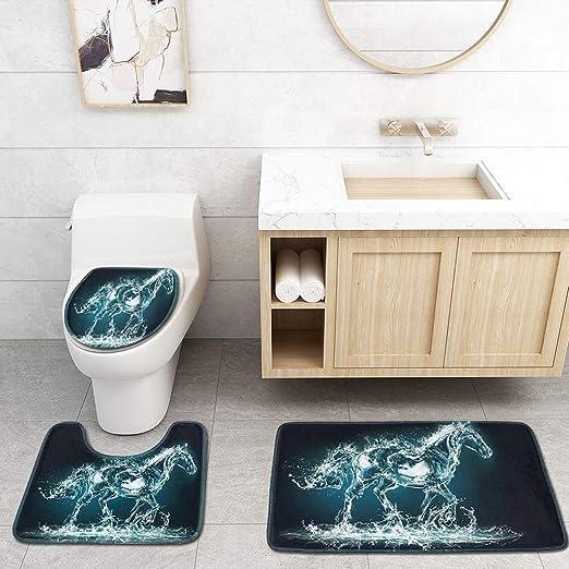 3pcs Non-Slip Bathroom Rug Bath Mat Toilet Seat Lid Cover Set Carpet Home Decor