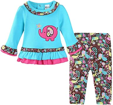 Infant Toddler Baby Girl Boy Fall Clothes Outfits Set 3-24 Months 2Pcs Cartoon Rabbits T-Shirt Tops Star Pants