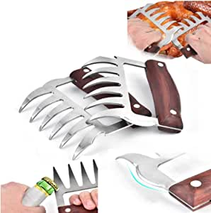 2Pcs Metal Meat Claws Stainless Steel Meat Forks with Wooden Handles Meat Shredding Forks and Hooks for Lifting Handling Shred Roasts and Brisket