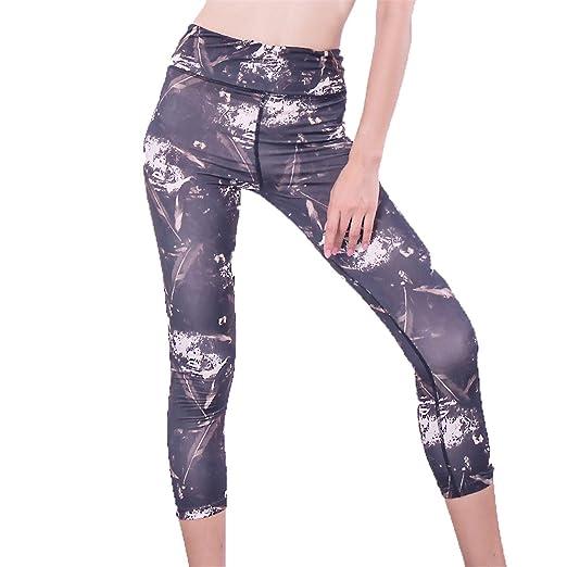 Amazon.com: HUYIU Womens 3/4 Length High Waist Yoga Pants ...