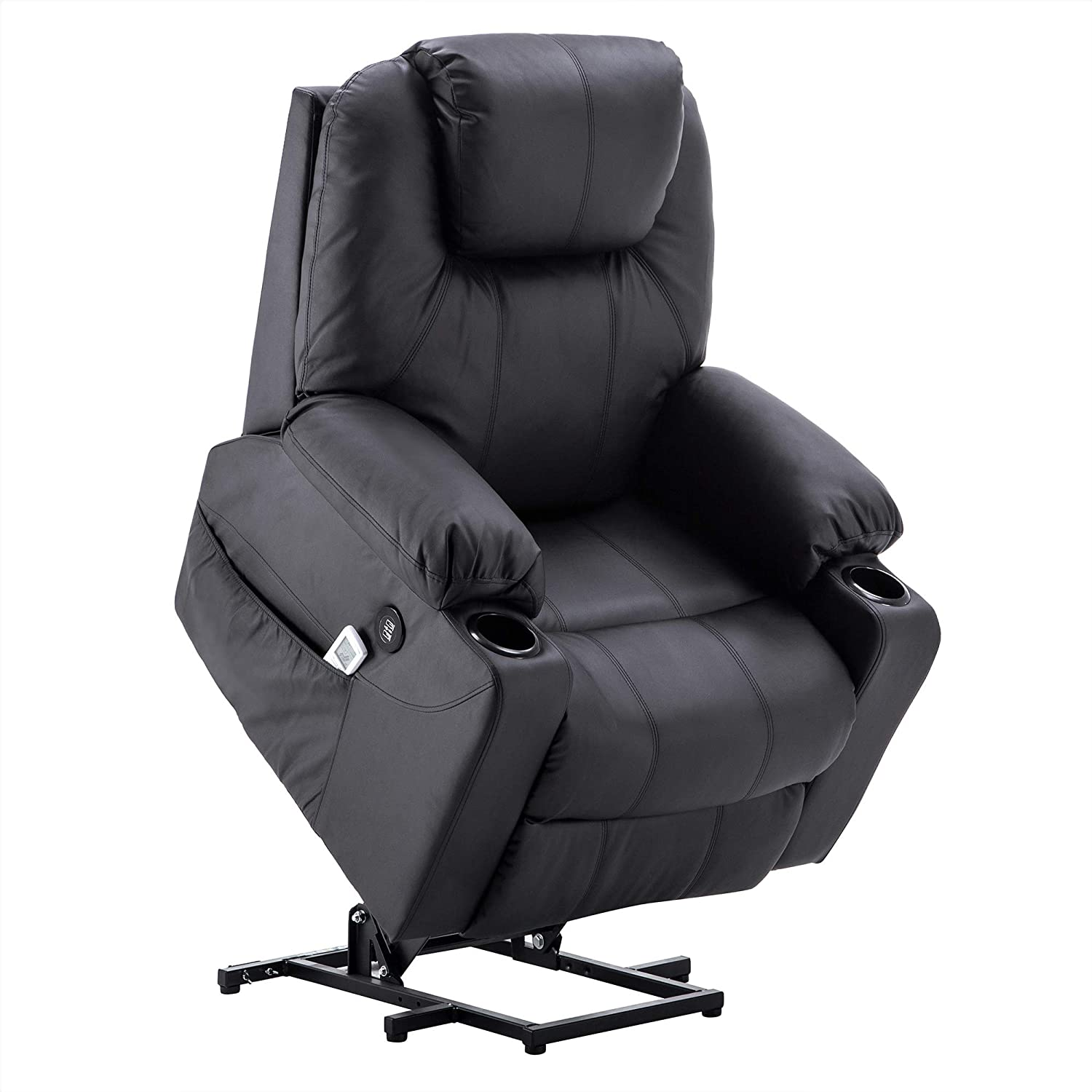 Electric Power Lift Chair Massage Sofa Recliner Heated Chair Lounge w/Remote Control Dual USB Charging Ports 7045 (Black) Mcombo