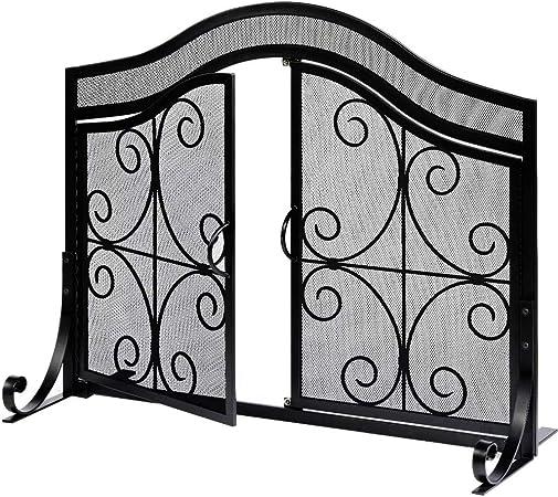 Amagabeli - Pantalla para chimenea con puertas de gran tamaño y protección plana para chimenea, de malla