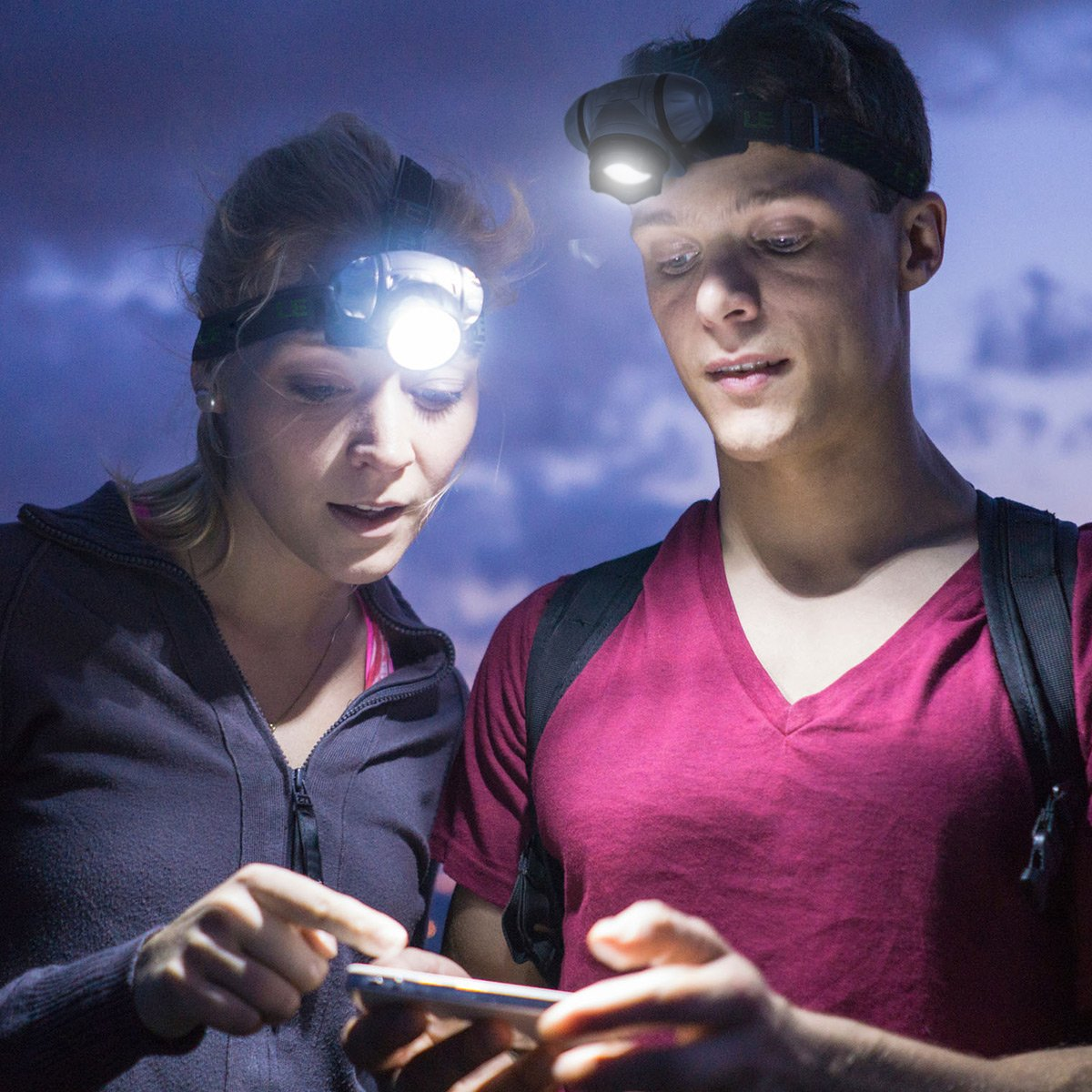 etc. Pilas AAA incluidas caminata Pack de 2 para acampada casco LE Linterna Frontal LED con Luz roja 3W 150lm correr