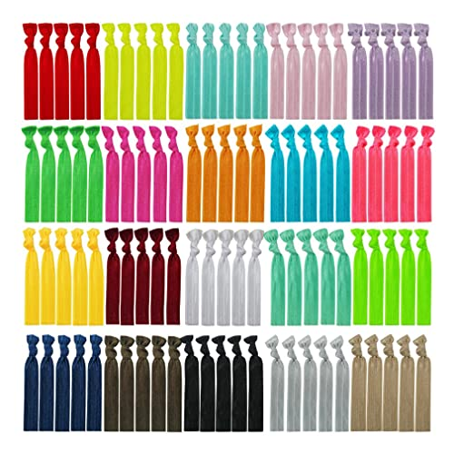 100 Assorted Solid Color No Crease Hair Ties For Women Girlu0027s Ponytail  Holder
