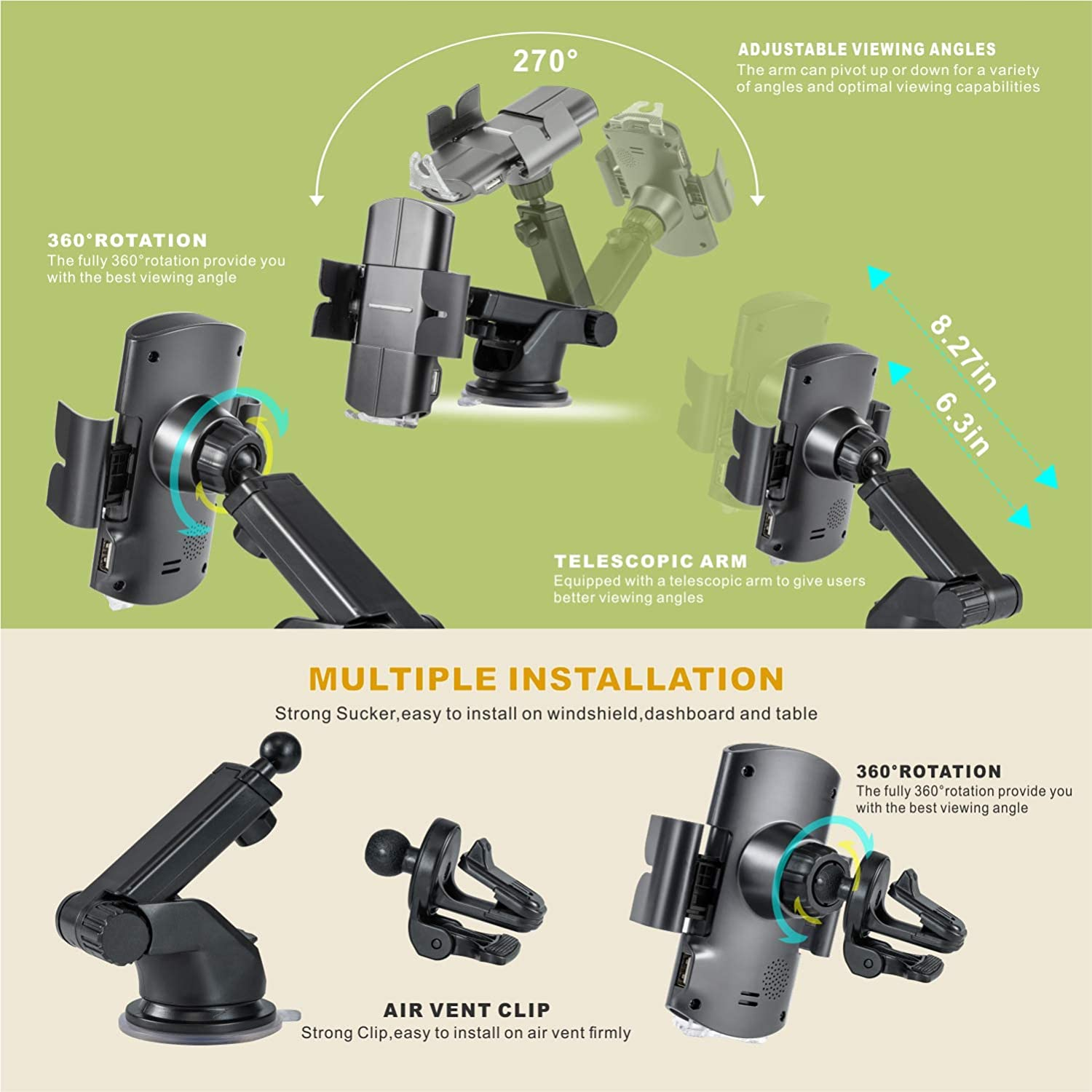 Samsung S10-S8 10W Qi Fasting Charging Auto-Clamping 3 in 1 Car Mount Windshield Dashboard Air Vent Phone Holder for iPhone 11-Pro Max X-Xs Max 8//8+ TILON Voice Prompts Wireless Car Charger