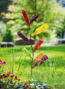 Evergreen Garden Beautiful Summer Metal Bottle Tree Outdoor Decor - 14 x 62 x 12 Inches Fade and Weather Resistant Outdoor Decoration for Homes, Yards and Gardens