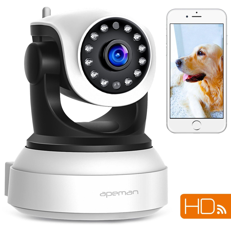 APEMAN 720P Cámara IP WIFI, Cámara de Vigilancia con Visión Nocturna, Audio de 2 Vías, Detector de Movimiento Pan/Tilt, Grabador de Vídeo y Audio, P2P/Ovnif/2.4GHz, Compatible con iOS/Android