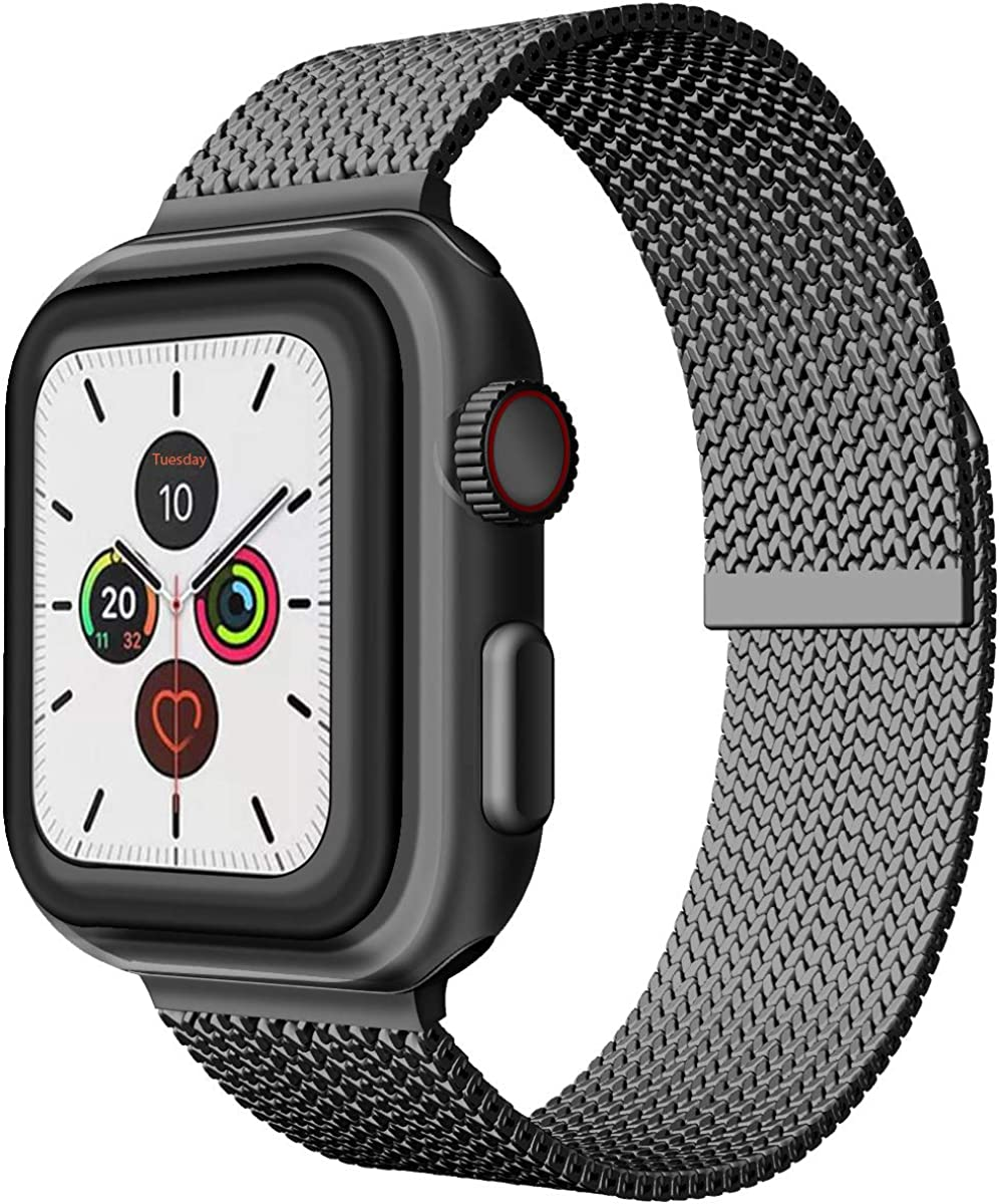 JOMOQ Stainless Steel Strap Compatible for Apple Watch Bands 38mm 40mm 42mm 44mm, Adjustable Metal Loop Replacement Wrist Band for Series 5 4 3 2 1