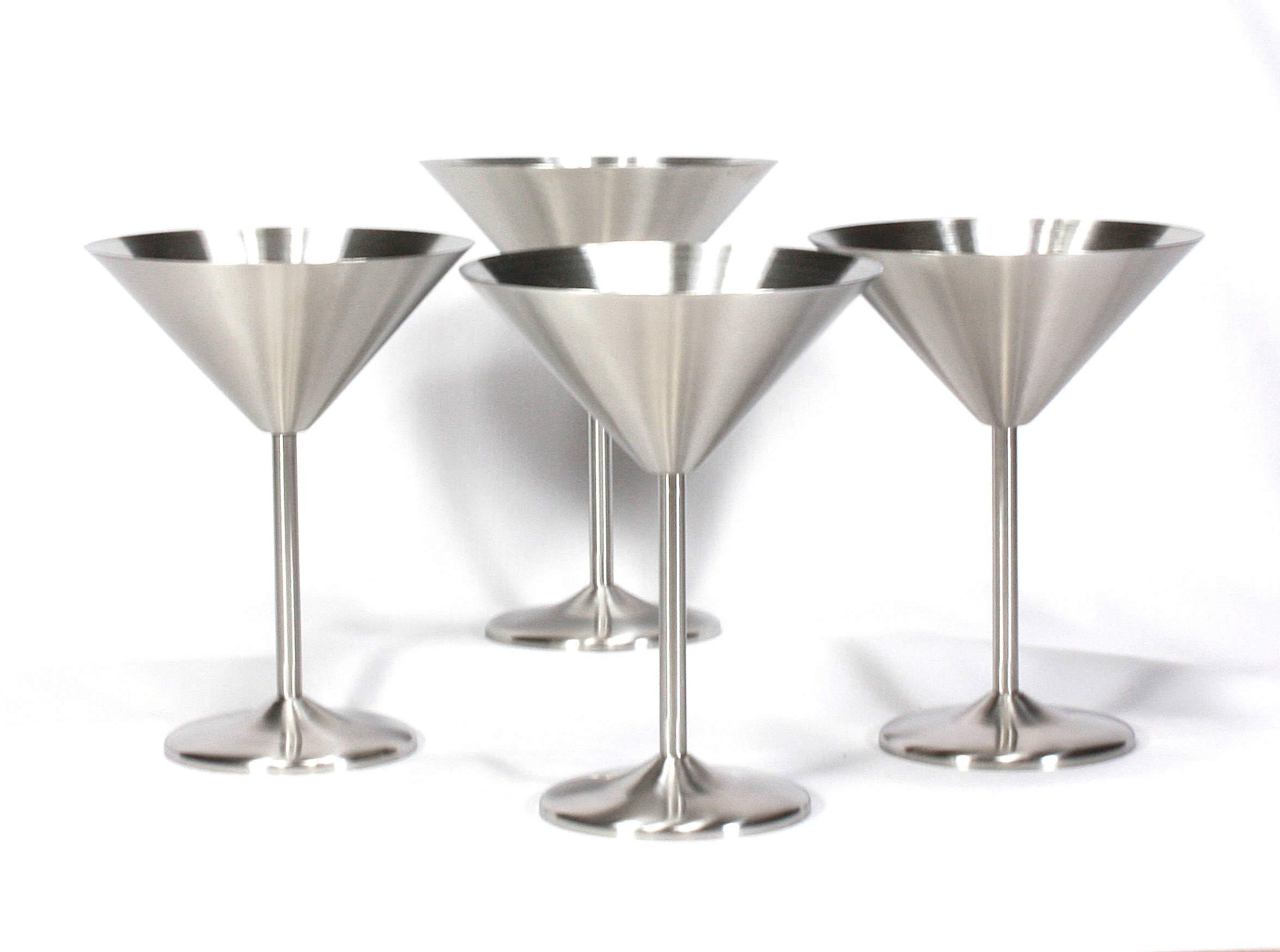 Trendiware Stemmed Martini Cocktail Glasses 7 oz. (Stainless Steel, 4) by Trendiware