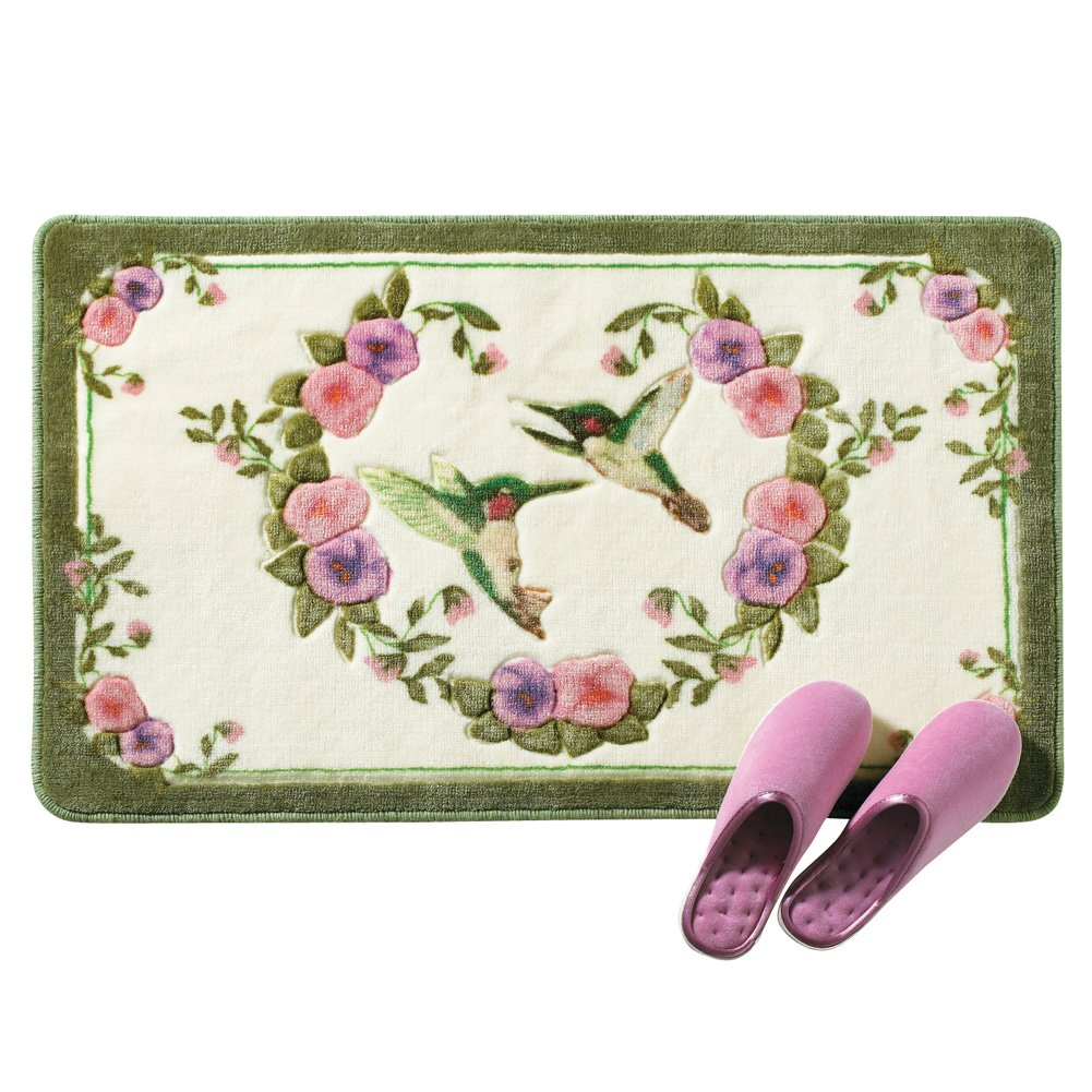 Collections Etc Hummingbird Floral Skid-Resistant Bath Accent Rug, Green