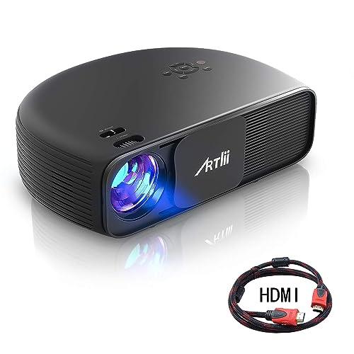 Retroprojecteur HD, Artlii Video projecteur 1280x800p 3D - Projecteurs LED Relier Ordinateur Portable PC iPhone Smartphone pour Jeux Video Films