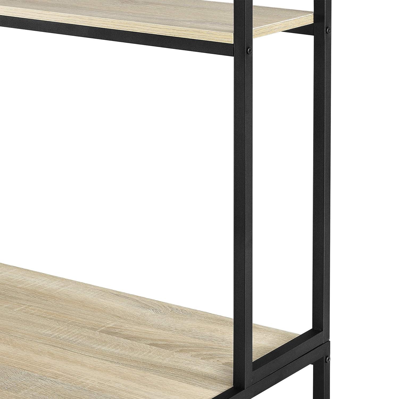 en.casa Escritorio con Estante 75 x 120 x 60 cm Escritorio de Oficina con Estructura de Metal Mesa de Trabajo Negro y Color Roble