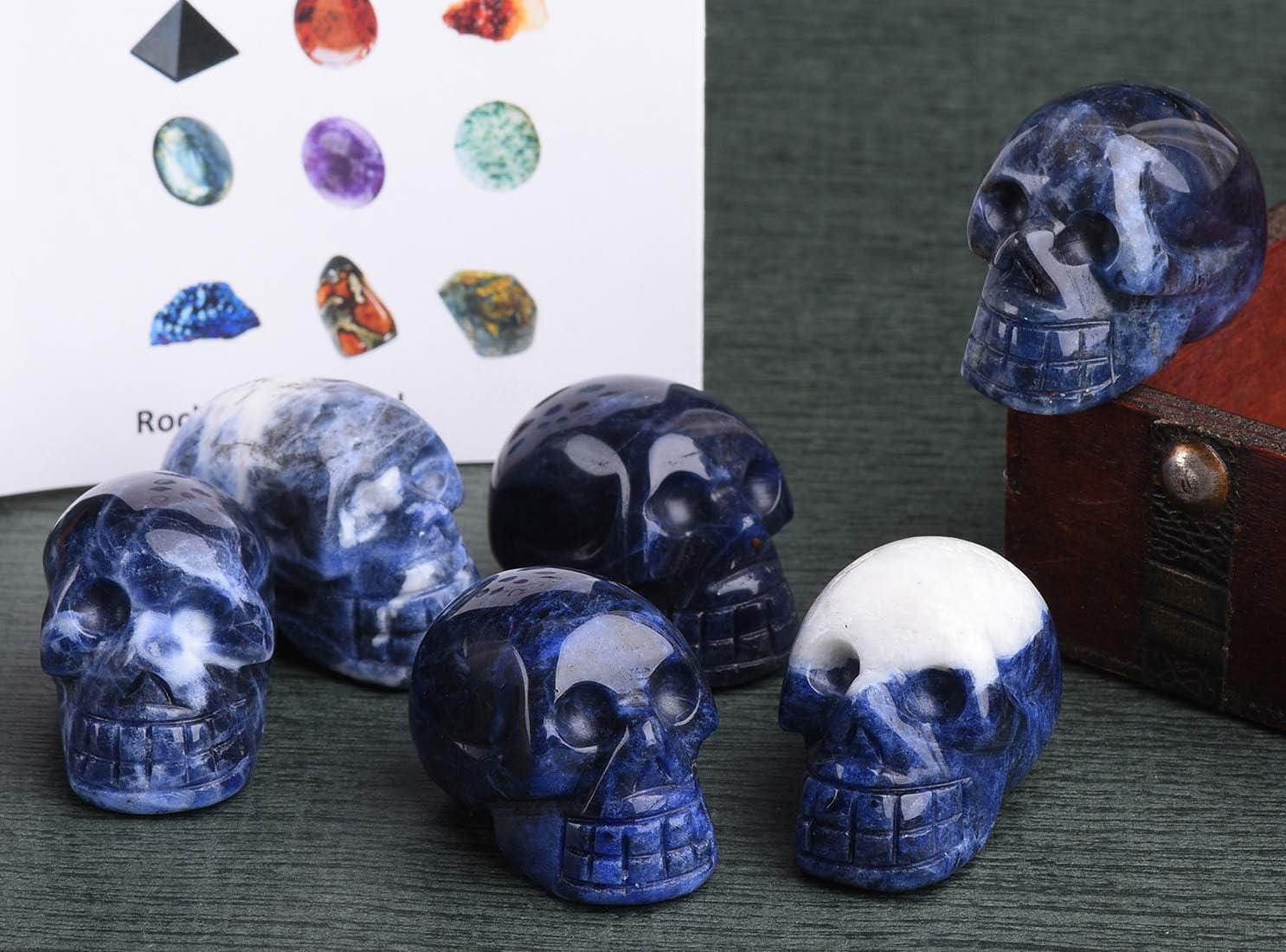 JIC Gem Sodalite Carving Skull Stone Pocket Statue Figurine Decor Natural Healing Crystal Pack of 6