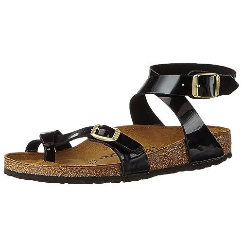 3871121606f1 Birkenstock Womens Yara Black Patent Birko-Flor Sandals 41 EU ...