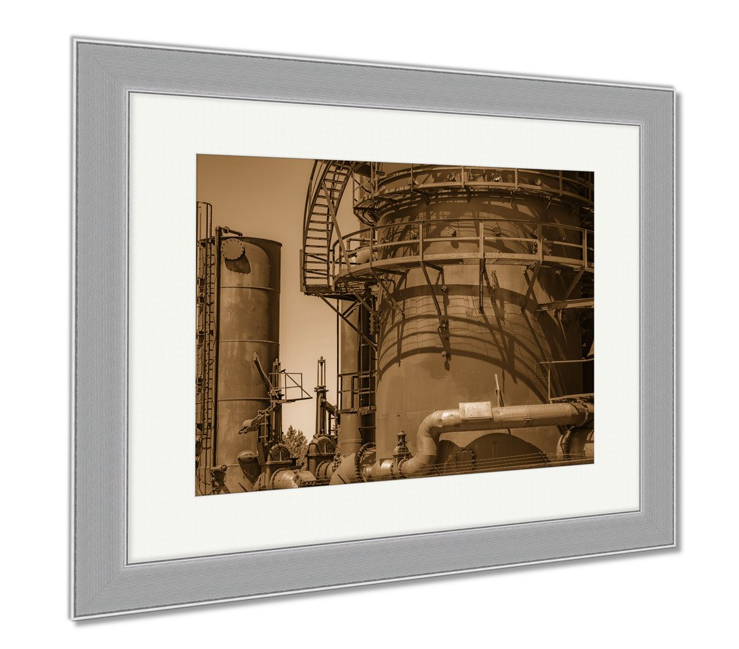 Ashley Framed Prints Abandoned Old Machines And Storage Units In A Gas Industry At Gas Works Park, Wall Art Home Decoration, Sepia, 34x40 (frame size), Silver Frame, AG6536356