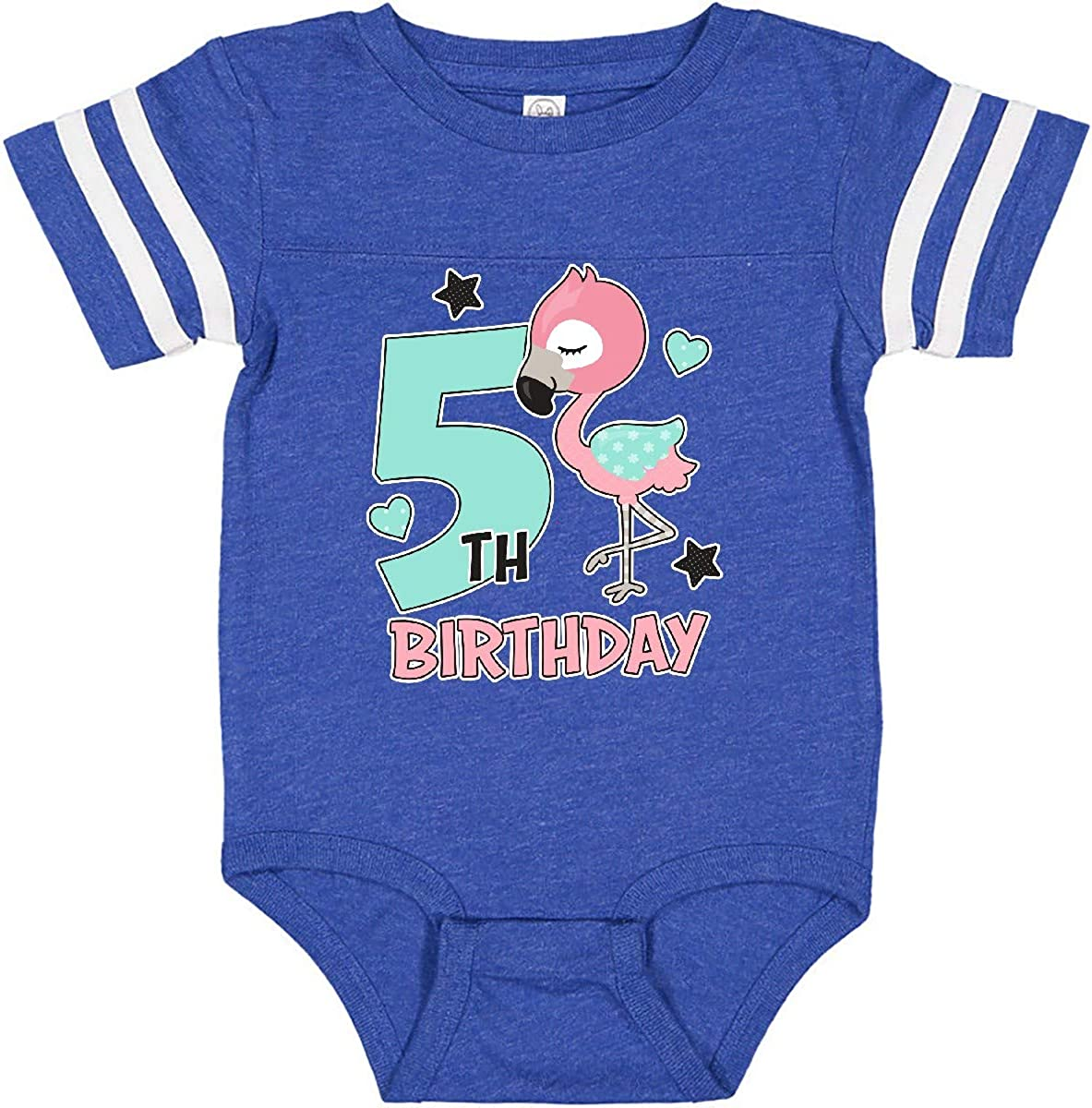 inktastic 5th Birthday with Flamingo Stars and Hearts Infant Creeper